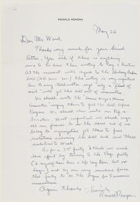 Ronald Reagan to Harold Ward, May 26, 1962. (GLC00782.17)