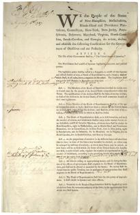 Pierce Butler's copy of the first draft of the US Constitution, August 6, 1787.