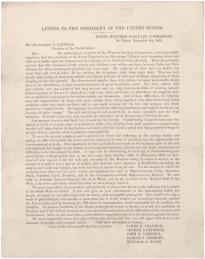 [Appeal from the Western Sanitary Commission to President Abraham Lincoln regarding the condition of freed slaves], November 6, 1863 (Gilder Lehrman Collection)
