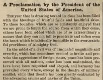 Abraham Lincoln's Thanksgiving Proclamation, Harper's Weekly, October 17, 1863. (Gilder Lehrman Collection)