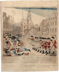 Engraving of the Boston Massacre, by Paul Revere, Boston, 1770. (The Gilder Lehrman Collection)