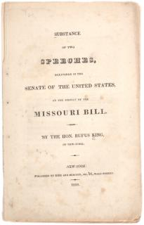 Rufus King. Substance of Two Speeches, Delivered in the Senate of the United Sta