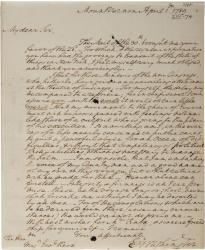George Washington to Henry Knox, April 1, 1789. (Gilder Lehrman Collection,