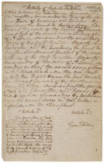 Charles Cornwallis, [Articles of capitulation settled at Yorktown], October 19,