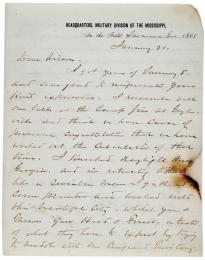 William T. Sherman to James H. Wilson, January 21, 1865. (GLC02947)