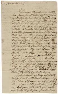 Stephen Bayard to Robert Livingston, November 12, 1725. (Gilder Lehrman Collection)