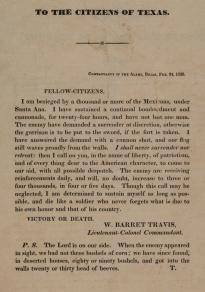"William Barret Travis, ""To the Citizens of Texas,"" February 24, 1836. (Gilder Lehrman Collection)"