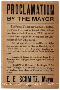 Eugene E. Schmitz, Proclamation by the Mayor broadside, April 18, 1906. (Gilder Lehrman Collection)