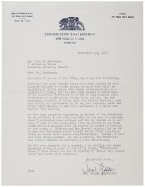 Israel Goldstein to John D. Buchanan, September 13, 1967. (Gilder Lehrman Collec