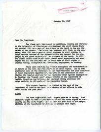 Robert F. Kennedy, [Report to President John F. Kennedy regarding civil rights],