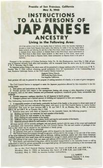 Japanese internment broadside, May 3, 1942. (GLC06360)