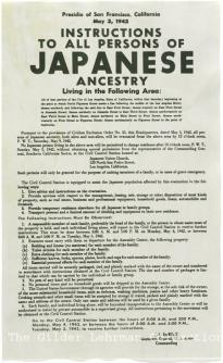 Japanese internment broadside, May 3, 1942. (Gilder Lehrman Collection)