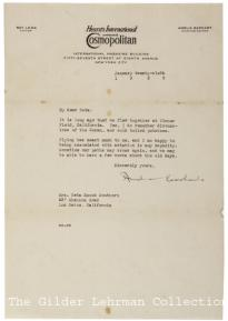 Amelia Earhart to Neta Snook Southern, January 6, 1929. (Gilder Lehrman Collecti