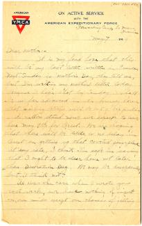 Lawrence Hopkins to Mrs. A.W. Hopkins, May 7, 1919. (Gilder Lehrman Collection)