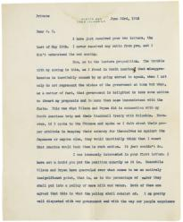 Theodore Roosevelt to Oscar King Davis, June 23, 1915. (Gilder Lehrman Collection)