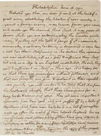 Thomas Jefferson to Marquis de Lafayette, June 16, 1792. (GLC08063p1)