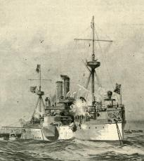 USS Maine, from Harper's Weekly, February 26, 1898. (Gilder Lehrman Collection)