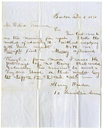 Henry Weeden to Watson Freeman, December 4, 1850 (Gilder Lehrman Collection)