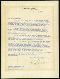 Harry Truman to Channing Frothingham, January 31, 1951. (The Gilder Lehrman Inst