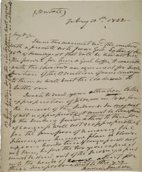 Andrew Jackson to Lewis Cass, February 10, 1832. (Gilder Lehrman Collection)