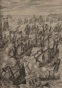 The defeat of the Spanish Armada, 1588. (Library of Congress, Kraus Collection, Rare Book and Spec. Collections Div.)