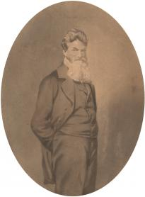 John Brown, ca. June 1859, painted photograph. (GLC04447)
