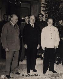 Churchill, Truman, and Stalin at Postdam, 1945. (Gilder Lehrman Collection)