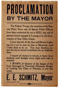 Proclamation by the Mayor, San Francisco, CA, April 18, 1906 (GLC 04967.01)