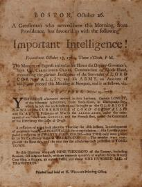 News of the Battle of Yorktown was published in Boston one week after Cornwallis's surrender. (GLC05504)