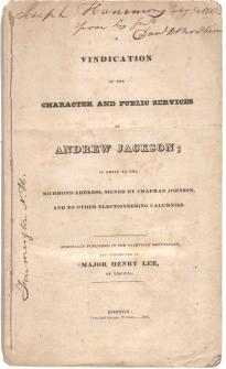 A Vindication of the Character and Public Services of Andrew Jackson, 1828 (GLC)