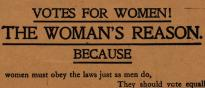 Detail of a broadside promoting women's suffrage. (GLC08963)
