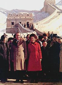 The Nixons at the Great Wall of China, February 1972. (NARA ARC id 194421)