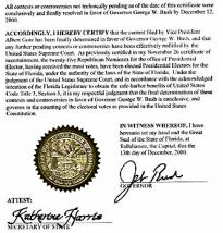 Florida Certificate of Ascertainment 2000 (NARA)