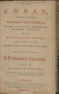 George Sale, The Koran . . . 2 vols. London, 1764 (LOC, Rare Bks., S.1457)