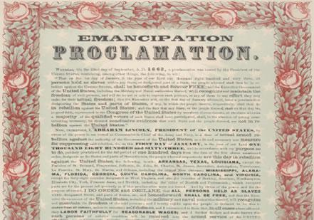 Abraham Lincoln, Emancipation Proclamation, 1863. (Gilder Lehrman Collection)