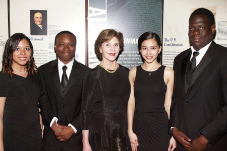 Mrs. Laura Bush with Gala student presenters Elizabeth Hyde, Jonathan Peters, Ma