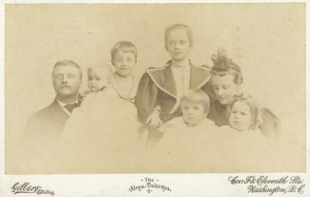 Roosevelt family portrait, c.1897. From left to right: Theodore, Archie, Ted Jr.
