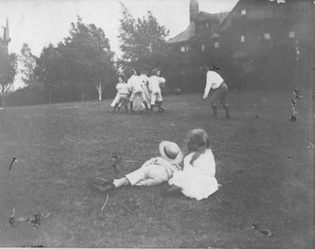 Roosevelt and family playing football, c.1890. Theodore Roosevelt, Jr. and Alice