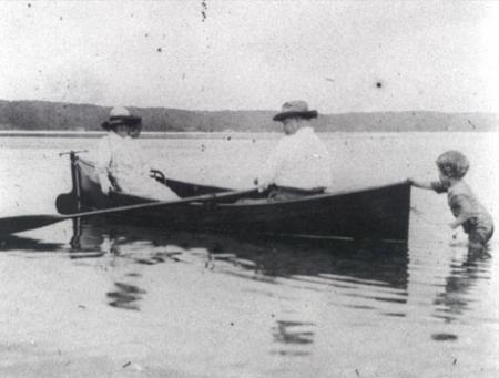 Theodore Roosevelt and Edith in a Rowboat at Cold Spring Harbor Beach with grand