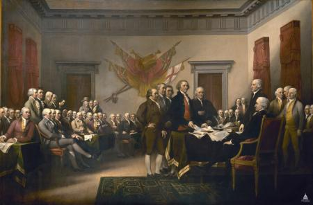 The Declaration of Independence, by John Trumbull, from the Rotunda of the US Capitol. (Courtesy of the Office of the Architect of the Capitol)