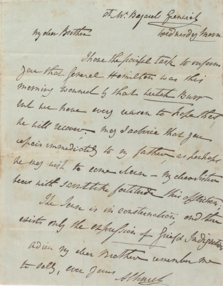 Letter from Angelica Church to her brother Philip, July 11, 1804 (Gilder Lehrman Collection)