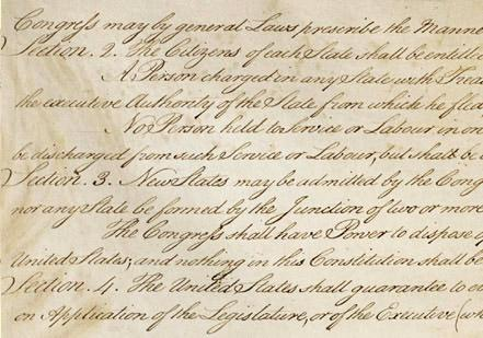 The U.S. Constitution, (Article IV, Section 3)  (Courtesy the National Archives)