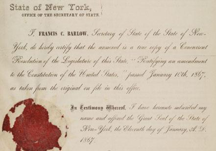 New York Resolution Ratifying Fourteenth Amendment (Gilder Lehrman Collection, G