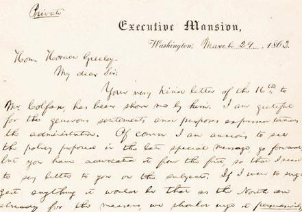 'Gradual—compensation—and vote of the people'  Abraham Lincoln to Horace Greeley