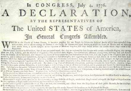 Declaration of Independence, July 4, 1776, South Carolina printing,  c. August 1