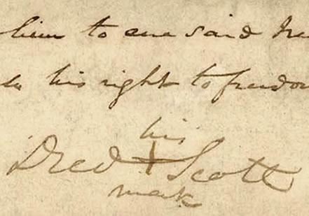 Detail from Dred Scott's Signed Petition of 1846  (Courtesy Washington Universit