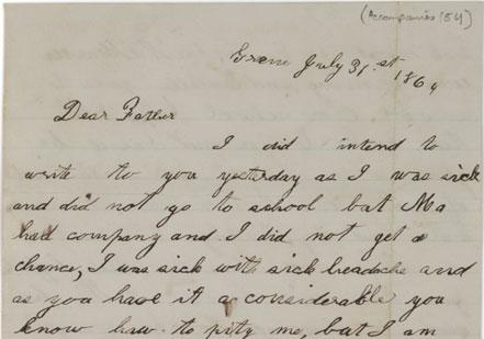 a letter from georgiana tillotson to her father george serving in the 89th new