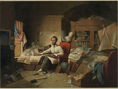 'President Lincoln Writing the Proclamation of Freedom' (Library of Congress Pri