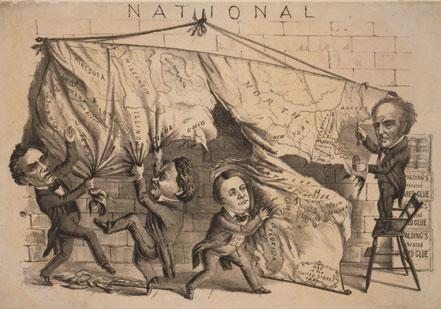 'Dividing the National Map,' a campaign poster from the presidential election of