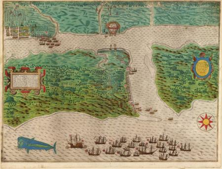Baptista Boazio, Drake's attack on St. Augustine, Florida, May 28–30, 1586. (Rare Books and Special Collections Division, Library of Congress, G3291.S12 s000 .B6)